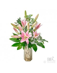 Simply Pink Lilies In Vase